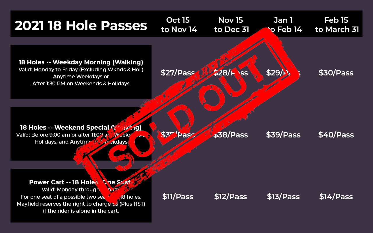 2021 PlayerPass 18 hole Pricing (green fees and cart) -- Sold Out