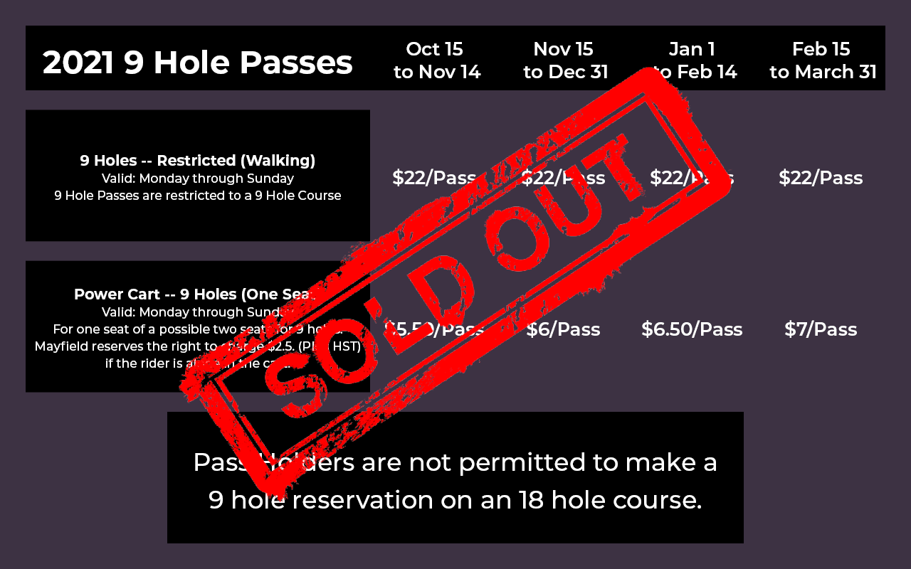 2021 9 Hole PlayerPass Pricing (green fess and carts) -- Sold Out
