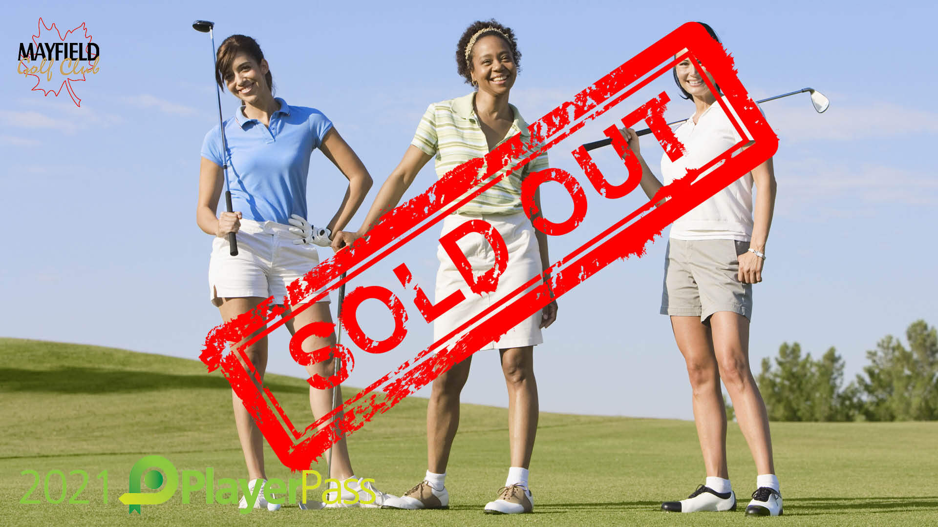 3 happy women golfers standing on the tee