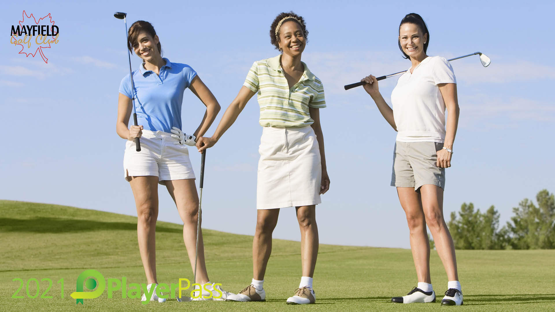 2021 PlayerPass (Three women golfers standing on the tee)