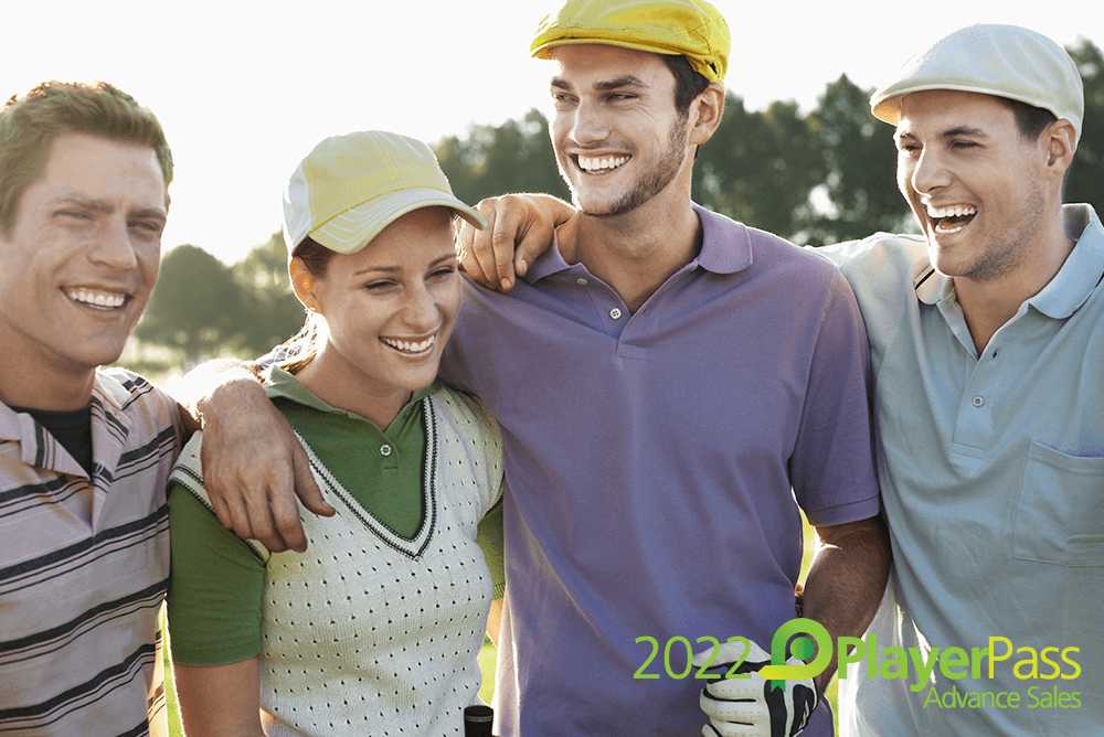2021 PlayerPass (Happy couple smiling in golf attire)